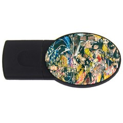Art Graffiti Abstract Lines Usb Flash Drive Oval (2 Gb) by Nexatart