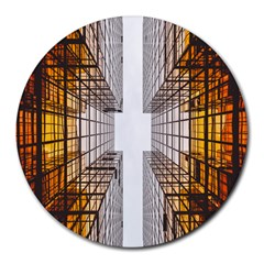 Architecture Facade Buildings Windows Round Mousepads by Nexatart