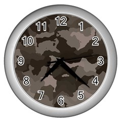 Background For Scrapbooking Or Other Camouflage Patterns Beige And Brown Wall Clocks (silver)