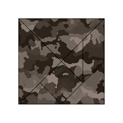 Background For Scrapbooking Or Other Camouflage Patterns Beige And Brown Acrylic Tangram Puzzle (4  X 4 ) by Nexatart