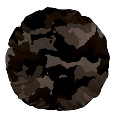 Background For Scrapbooking Or Other Camouflage Patterns Beige And Brown Large 18  Premium Round Cushions