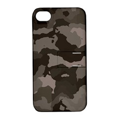 Background For Scrapbooking Or Other Camouflage Patterns Beige And Brown Apple Iphone 4/4s Hardshell Case With Stand