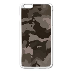 Background For Scrapbooking Or Other Camouflage Patterns Beige And Brown Apple Iphone 6 Plus/6s Plus Enamel White Case by Nexatart