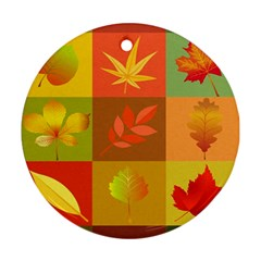 Autumn Leaves Colorful Fall Foliage Ornament (round) by Nexatart