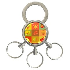 Autumn Leaves Colorful Fall Foliage 3 Ring Key Chains by Nexatart