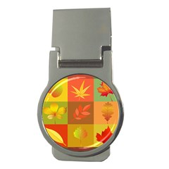Autumn Leaves Colorful Fall Foliage Money Clips (round)  by Nexatart