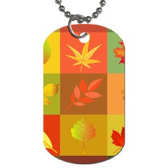 Autumn Leaves Colorful Fall Foliage Dog Tag (one Side) by Nexatart