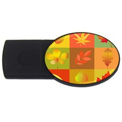 Autumn Leaves Colorful Fall Foliage Usb Flash Drive Oval (4 Gb) by Nexatart