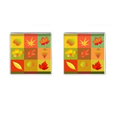 Autumn Leaves Colorful Fall Foliage Cufflinks (square) by Nexatart