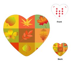 Autumn Leaves Colorful Fall Foliage Playing Cards (heart)  by Nexatart