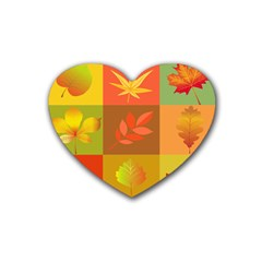 Autumn Leaves Colorful Fall Foliage Heart Coaster (4 Pack)  by Nexatart