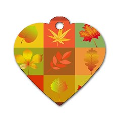 Autumn Leaves Colorful Fall Foliage Dog Tag Heart (one Side) by Nexatart