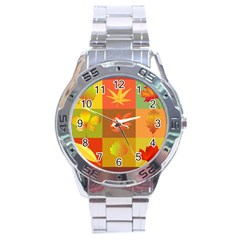 Autumn Leaves Colorful Fall Foliage Stainless Steel Analogue Watch by Nexatart
