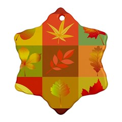 Autumn Leaves Colorful Fall Foliage Ornament (snowflake) by Nexatart