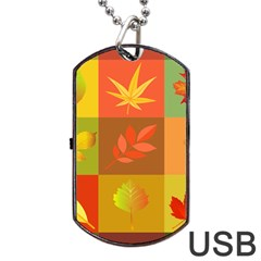 Autumn Leaves Colorful Fall Foliage Dog Tag Usb Flash (two Sides)