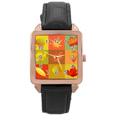 Autumn Leaves Colorful Fall Foliage Rose Gold Leather Watch  by Nexatart