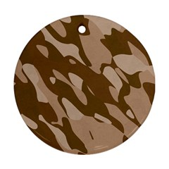 Background For Scrapbooking Or Other Beige And Brown Camouflage Patterns Ornament (round) by Nexatart