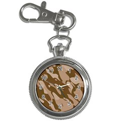 Background For Scrapbooking Or Other Beige And Brown Camouflage Patterns Key Chain Watches by Nexatart