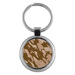 Background For Scrapbooking Or Other Beige And Brown Camouflage Patterns Key Chains (round)