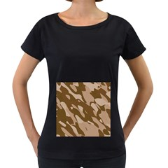 Background For Scrapbooking Or Other Beige And Brown Camouflage Patterns Women s Loose Fit T Shirt (black)