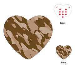 Background For Scrapbooking Or Other Beige And Brown Camouflage Patterns Playing Cards (heart)  by Nexatart