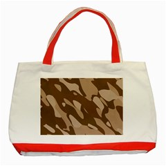 Background For Scrapbooking Or Other Beige And Brown Camouflage Patterns Classic Tote Bag (red) by Nexatart