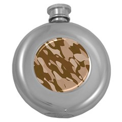 Background For Scrapbooking Or Other Beige And Brown Camouflage Patterns Round Hip Flask (5 Oz) by Nexatart