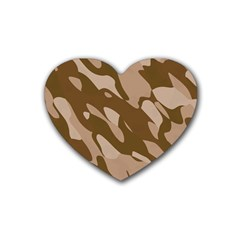 Background For Scrapbooking Or Other Beige And Brown Camouflage Patterns Rubber Coaster (heart)
