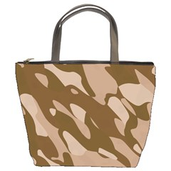 Background For Scrapbooking Or Other Beige And Brown Camouflage Patterns Bucket Bags by Nexatart