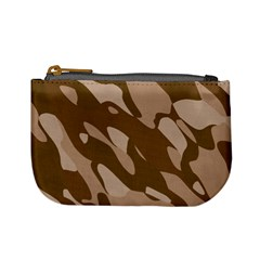 Background For Scrapbooking Or Other Beige And Brown Camouflage Patterns Mini Coin Purses by Nexatart