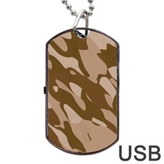 Background For Scrapbooking Or Other Beige And Brown Camouflage Patterns Dog Tag Usb Flash (two Sides)