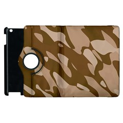 Background For Scrapbooking Or Other Beige And Brown Camouflage Patterns Apple Ipad 3/4 Flip 360 Case by Nexatart