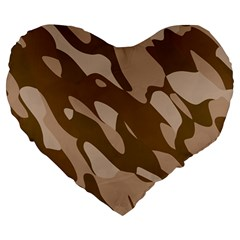 Background For Scrapbooking Or Other Beige And Brown Camouflage Patterns Large 19  Premium Heart Shape Cushions by Nexatart