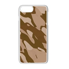 Background For Scrapbooking Or Other Beige And Brown Camouflage Patterns Apple Iphone 7 Plus White Seamless Case by Nexatart