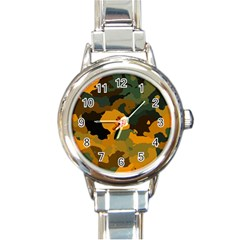 Background For Scrapbooking Or Other Camouflage Patterns Orange And Green Round Italian Charm Watch