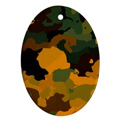 Background For Scrapbooking Or Other Camouflage Patterns Orange And Green Ornament (oval) by Nexatart
