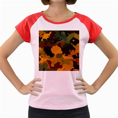 Background For Scrapbooking Or Other Camouflage Patterns Orange And Green Women s Cap Sleeve T-Shirt by Nexatart