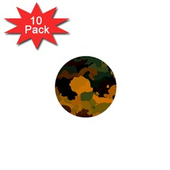 Background For Scrapbooking Or Other Camouflage Patterns Orange And Green 1  Mini Buttons (10 Pack)  by Nexatart