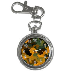 Background For Scrapbooking Or Other Camouflage Patterns Orange And Green Key Chain Watches by Nexatart
