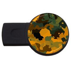 Background For Scrapbooking Or Other Camouflage Patterns Orange And Green Usb Flash Drive Round (2 Gb) by Nexatart