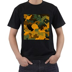 Background For Scrapbooking Or Other Camouflage Patterns Orange And Green Men s T Shirt (black) (two Sided)