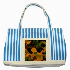 Background For Scrapbooking Or Other Camouflage Patterns Orange And Green Striped Blue Tote Bag by Nexatart