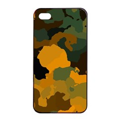 Background For Scrapbooking Or Other Camouflage Patterns Orange And Green Apple Iphone 4/4s Seamless Case (black)