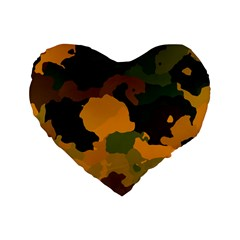 Background For Scrapbooking Or Other Camouflage Patterns Orange And Green Standard 16  Premium Heart Shape Cushions by Nexatart