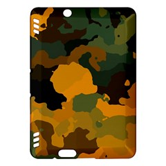 Background For Scrapbooking Or Other Camouflage Patterns Orange And Green Kindle Fire Hdx Hardshell Case by Nexatart