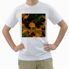 Background For Scrapbooking Or Other Camouflage Patterns Orange And Green Men s T Shirt (white)