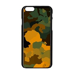 Background For Scrapbooking Or Other Camouflage Patterns Orange And Green Apple Iphone 6/6s Black Enamel Case by Nexatart