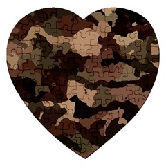 Background For Scrapbooking Or Other Camouflage Patterns Beige And Brown Jigsaw Puzzle (heart) by Nexatart