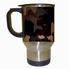 Background For Scrapbooking Or Other Camouflage Patterns Beige And Brown Travel Mugs (white) by Nexatart