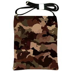 Background For Scrapbooking Or Other Camouflage Patterns Beige And Brown Shoulder Sling Bags by Nexatart